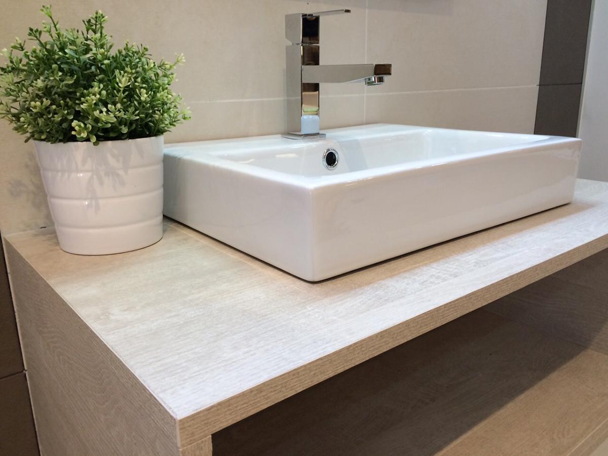 Mueble Baño Blanco LacadoMueble de baño suspendido en melamina