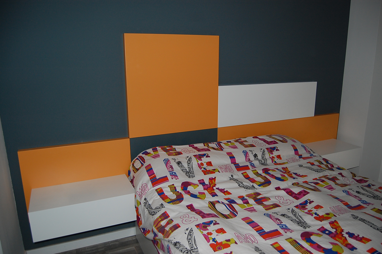 Cabezal cama con paneles lacados en color satinado mb - Cabezal cama infantil ...