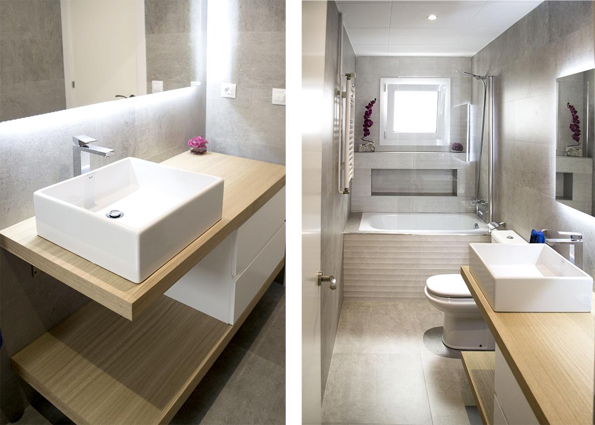Mueble de ba o a medida con encimera de madera mb concept - Encimera bano madera ...