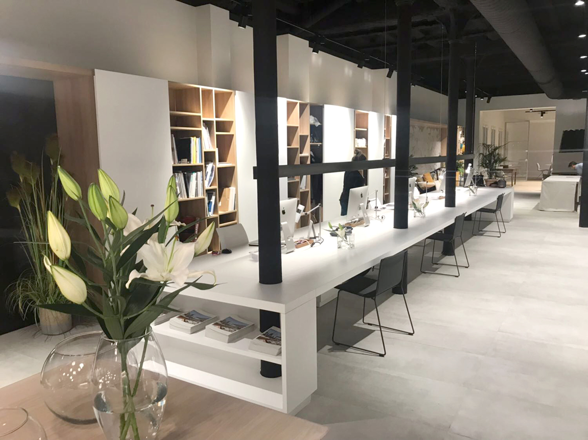 Mueble librer a y despacho para estudio de interiorismo - Estudio de interiorismo ...